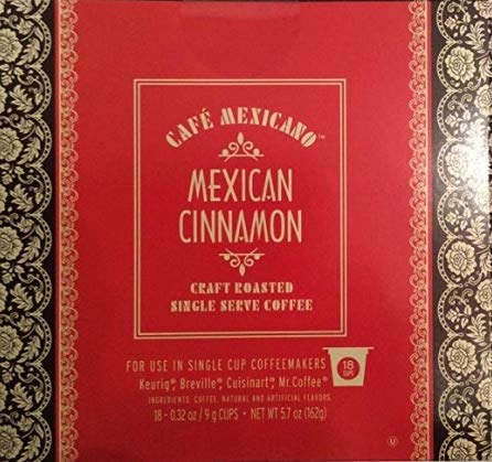 Cafe Mexicano Single Serve Coffee 18 pods(Mexican Chocolate, Toasted Hazelnut, Cinnamon) (Mexican Cinnamon)