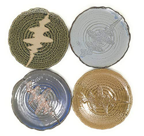 TJ Global Set of 4 Japanese Pottery Ceramic 9.5 Inch Plates for Any Meal and Any Dish, Japanese Dinnerware and Tableware Comes in Assorted Colors