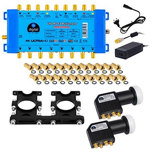 2X Quattro LNB Schwarz + Multischalter pmse 9/8 HB-DIGITAL 9X SAT bis 8 x Teilnehmer / Receiver für Full HDTV 3D 4K UHD mit Netzteil + 30 Vergoldete F-Stecker Gratis dazu