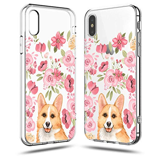 iPhone Xs Case,iPhone X Case Women,Girls Cute Corgi in The Pink Blooms Flowers Floral Spring Love Funny Puppy Dog Chic Trendy Simple Rose Daisy Spring Clear Soft Case Compatible for iPhone Xs/X