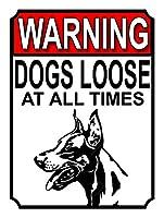 警告犬は常に緩んでいます メタルポスタレトロなポスタ安全標識壁パネル ティンサイン注意看板壁掛けプレート警告サイン絵図ショップ食料品ショッピングモールパーキングバークラブカフェレストラントイレ公共の場ギフト