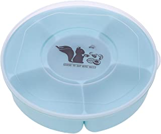 UPKOCH Candy and Nut Serving Container, Snack Plate, Appetizer Tray with Lid, 6 Compartment Round Plastic Food Storage Lun...