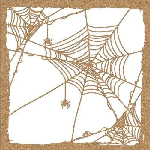 TODO-STENCIL Stencil Deco Fiesta 048 Halloween Tela de araña Medidas exteriores: 20x20 Medidas internas diseño 18 x 18 cm