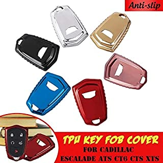 Key Case for Car - TPU Remote Smart Key Cover Fob Case Shell for for Cadillac ATS CT6 CTS DTS XT5 Escalade ESV SRX STS XTS...