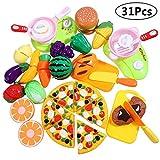 iBaseToy 31 Stück Küchenspielzeug für Kinder Geschirr Schneiden Obst Gemüse Lebensmittel,Schneiden von Obst und Gemüse Rollenspiel-Sets, Küche Rollenspielzeug für Kinder Mädchen Jungen Lernen