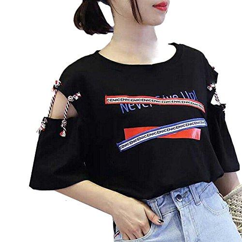 TWIFER Sommer Damen Kurzarm T Shirt Weste Logo Gedruckt Bandage Tank Top Bluse