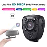 Mini Body Worn Camera Pocket Wireless Small Police Video Recorder Indoor/Outdoor Wearable Mounted Camera, Tiny HD Cop Cam DVR,1080P, 32G Memory,Record Video & Audio,Night Vision, 5HR Battery Life