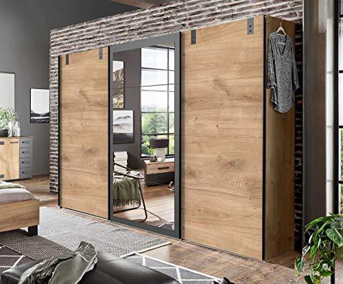 lifestyle4living Kleiderschrank in Plankeneiche-Dekor mit Absetzungen in Graphit, Schwebetüren-Schrank mit viel Stauraum im modernen Industrial Design, 270cm