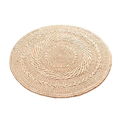 GIAOGIAO Ländlich Stil Stroh Futon Kissen Meditation Bodenmatte Stuhl Boden Gras-Matten-Meditationskissen Wurf (Color : As The Picture Shows, Specification : 40cmX1.5cm)