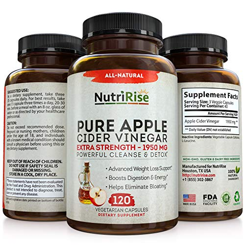 Apple Cider Vinegar Capsules - 3X Potency 1950mg - Weight Loss, Detox & Cleanse - Diet Pills for Women & Men, Keto Belly Fat Burner, Appetite Suppressant, Energy Supplement, Immune Support