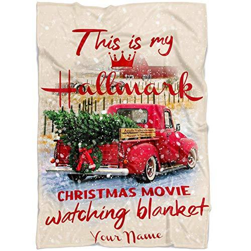 Personalized Name Christmas Christmas Movies Blanket. Christmas Christmas Movies Repeating Name Customized Fleece Throw. Gift for Birthday, Mothers Day, Christmas, Thanksgiving (Fleece 30'x40')