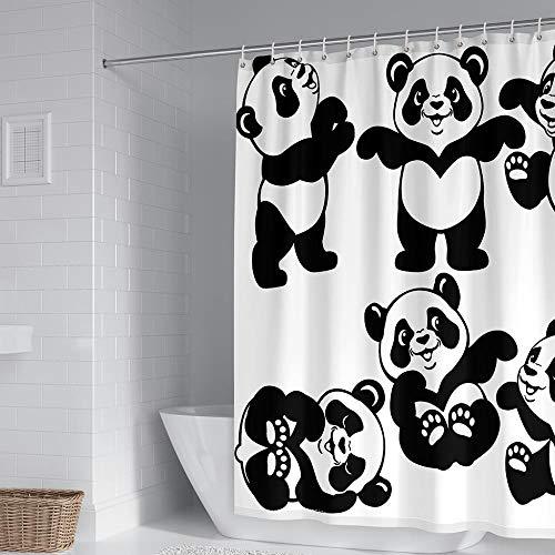 Duschvorhangs Panda Duschvorhang Mit Ringen 180 X 180 cm Beschwertem Saum 100prozent Polyester Wasserdicht Antibakteriell Waschbar Mit 12 Duschvorhangringen