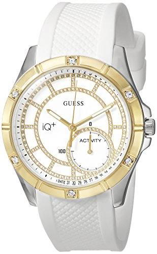 GUESS Women's Stainless Steel Connect Fitness Tracker Silicone Watch, Color: White (Model: C2002L1)