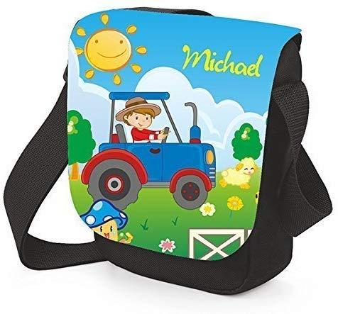 Mein Zwergenland kinderschoudertas mini reporter met naam, 2 L, zwart, tractor