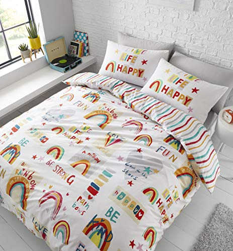 Catherine Lansfield Be A Rainbow Easy Care Double Duvet Set Multi