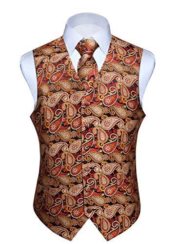 Hisdern Hisdern Manner Paisley Floral Jacquard Weste & Krawatte und Einstecktuch Weste Anzug Set, Braun und Orange, Gr.-XS (Brust 39 Zoll)