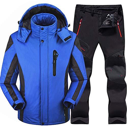 Skianzug Herren Ski- und Snowboard-Sets Super Warm Wasserdicht Winddicht Snowboard Jacke Hose Winter Schnee Anzüge Herren, Blau, XL