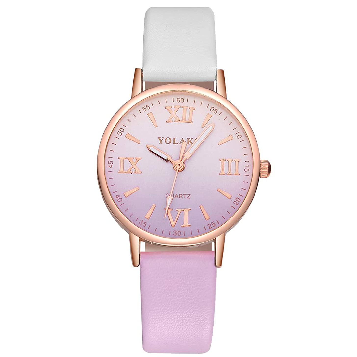 lightclub Women Roman Numbers Color Block Dial Faux Leather Band Analog Quartz Watch Gift for Women Men Purple