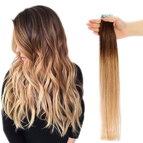 SEGO Extension Capelli Veri Biadesivo Shatush 20 Fasce Tape Adesive 50g 100% Remy Human Hair Biadesive (45cm #4T27 Castano Medio ombre Biondo Scuro 45cm)