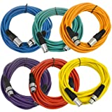 SEISMIC AUDIO - SAXLX-25-6 Pack of 25' Multiple Color XLR Male to XLR Female Microphone Cables -...