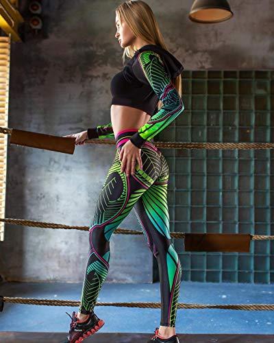 CYFCXK Leggings de Yoga de impresión Digital de Deportes de Alto elástico Hip-Levantamiento de la Cadera Leggings de Alta Cintura para Mujer,A,M