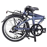 """Dahon SUV D6 Folding Bike, Lightweight Aluminum Frame; 6-Speed Shimano Gears; 20"""" Foldable Bicycle for Adults,Blue"""