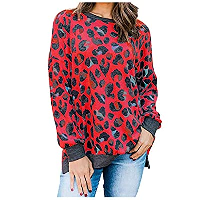 T-Shirt Women's Comfort Elegant Leopard Printed O-Neck Tops(Red,2XL)