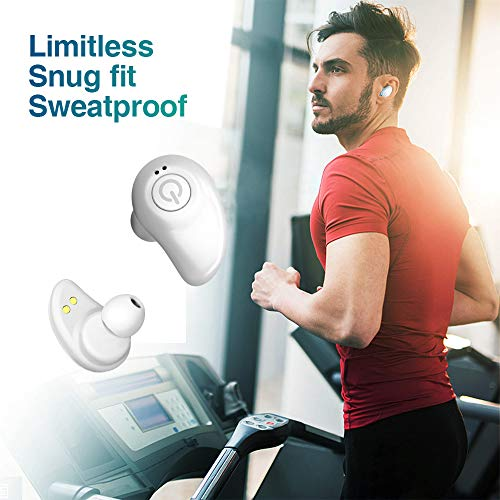Wireless Earbuds for Android iPhone Bluetooth 5.0 Headphones with Mic 72 Hours Playtime Auto Pairing Cordless Wireless Earbuds Headset Noise Reduction Earphones with 2000 mAh Charging Case - White