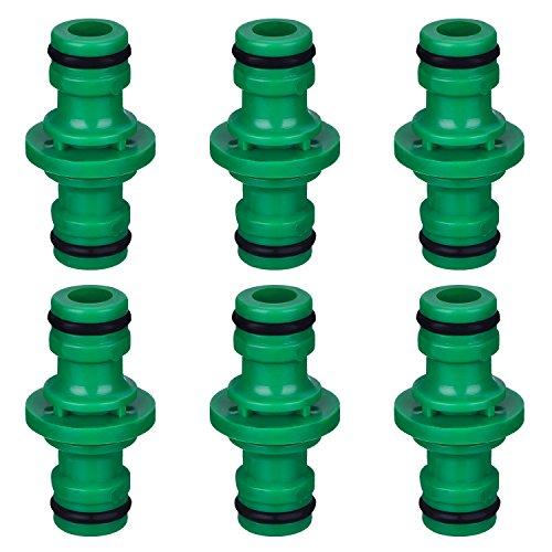 Hotop 6 Pièces Double Connecteur de Tuyaux Mâles Raccords de Tuyaux pour Rejoignez Le Tube de Tuyaux de Jardin (Vert)