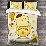 Imaoquhu Pom Pom Purin Boutique 3 Piece Bed Sheet Set All-Season Microfiber 1800, Super Soft, Comfortable and Luxurious 86x70inch Queen
