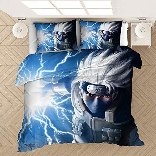 Qunqun Juego de Cama de impresión de Anime 3D Juego de Colcha de Naruto Funda de Almohada Una sábana de futón Cama Doble Cama Individual (Colour 3,220x240cm)