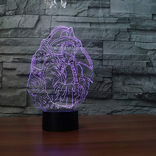 3D LED Lampe d'illusion Optique,Pompier Lumière de Nuit avec Câble USB et 7 Couleurs Décoration pour Enfant Chambre Chevet Table de Bébé Enfant Cadeau De Noël Fête Anniversaire