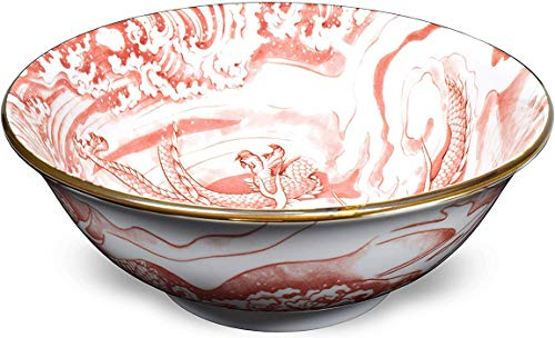 Happy Sales HSXLP-DRGPK8, Japanese XL Bowl 8'D Multi Purpose Bowl Ramen Bowl Udon Soba Tempura...