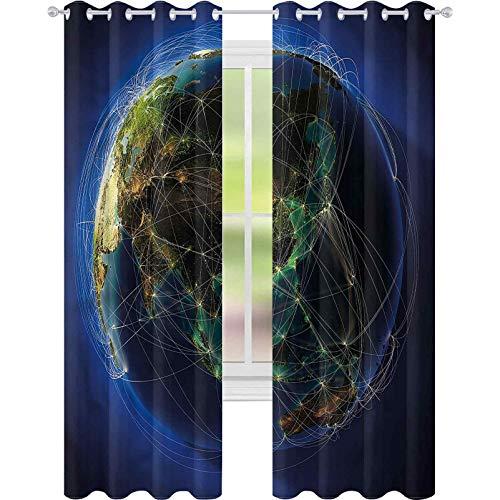 Cortina de ventana con líneas de la tierra del mundo de navegación W52 x L63 cortina de oscurecimiento para sala de estar