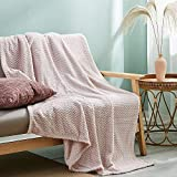 Simple&Opulence Flannel Fleece Velvet Plush Throw Blanket, 50x60 Inch, Lightweight, Fluffy, Cozy, Fuzzy, Ultra Soft for Bed/Couch/Sofa-Blush Pink