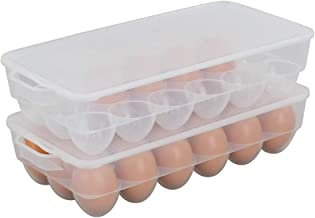 Begale Clear Plastic Egg Storage Container, Egg Holder Case For Refrigerator, Set of 2
