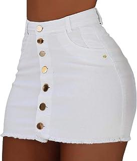 desolateness Womens Casual High Waist Button Front Bodycon Denim Skirt Jean Skirt