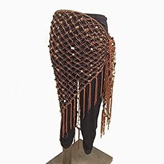 HPXCAZ 15 Colors Belly Dance Clothes Accessories Stretchy Crochet Net Shawl Triangle Belt Belly Dance Hip Scarf Square Sequins (Color : Coffee)