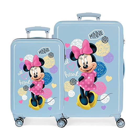 Disney Love Minnie Kofferset Rosa 55/65 cms Hartschalen ABS Kombinationsschloss 93L 4 Doppelräder Handgepäck