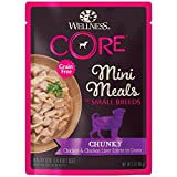 Wellness Core Natural Grain Free Small Breed Mini Meals Wet Dog Food, Chunky Chicken & Chicken Liver Entrée In Gravy, 3-Ounce Pouch (Pack Of 12)
