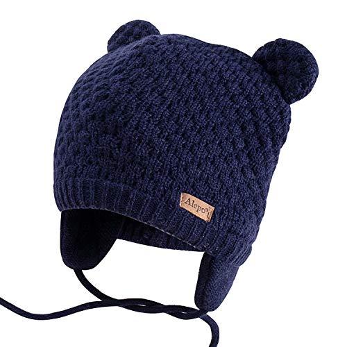 Winter Beanie Hat for Baby Kids Toddler Infant Newborn, Earflap Cute Warm Fleece Lind Knit Cap for Boys Girls (Navy)