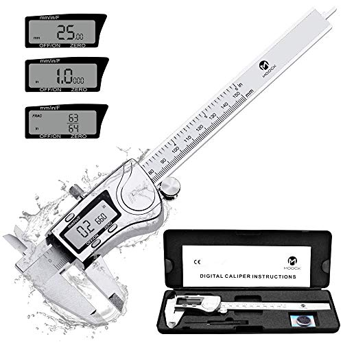 Digital Caliper, MOOCK 0-6 inches Calipers Measuring Tool with Stainless Steel, Electronic Micrometer Caliper with LCD Screen, IP54 Waterproof Protection Design, Inch Milimeter Fractions Conversion