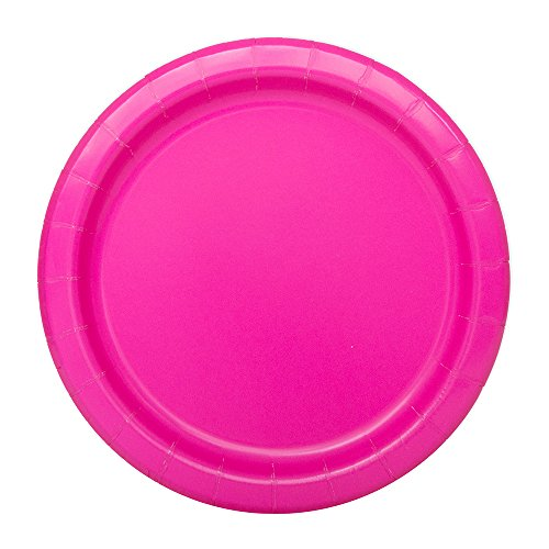 Neon Pink Party Paper Plates, Pack of 20. Green, Purple and Yellow also available.