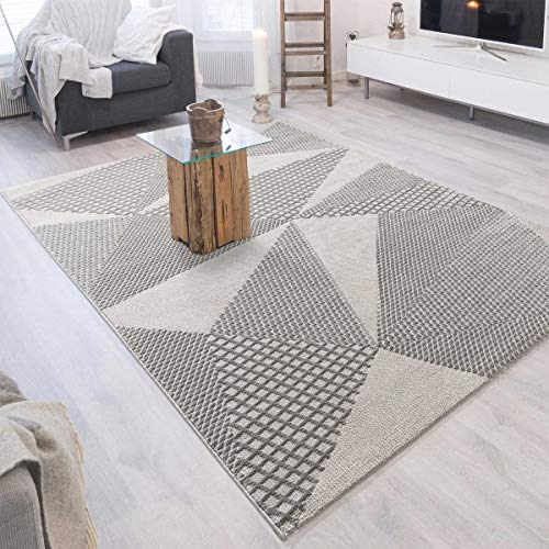mynes Home Kurzflor Wohnzimmer Teppich 200x290cm   Grau Modern, Skandi Gemustert auch für Küche, Esszimmer, Kinderzimmer oder Schlafzimmer