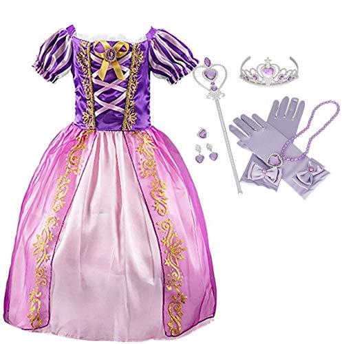 IWFREE Déguisement Fille Robe de Princesse Raiponce Baby Rapunzel Deguisement Conte de Fée Dégradés Robe Cosplay Carnaval Soirée Halloween Noël Fête Anniversaire Cérémonie Communion Violet