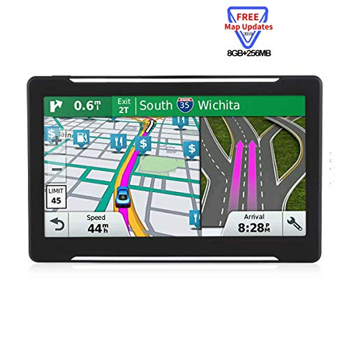 Car GPS Navigation, HD Touch 7-inch 8GB Navigation System, Voice Turn Tips and Traffic alerts, Lifetime map Updates (Navigation pre-Installed US/Canada/Mexico Latest map)
