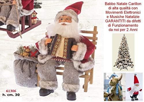 Babbo Natale Altezza Cm.30 Carillon Seduto Sulla PANCHINA Che Suona La Fisarmonica Con MUSICHE Melodie Natalizie E Movimento 61306