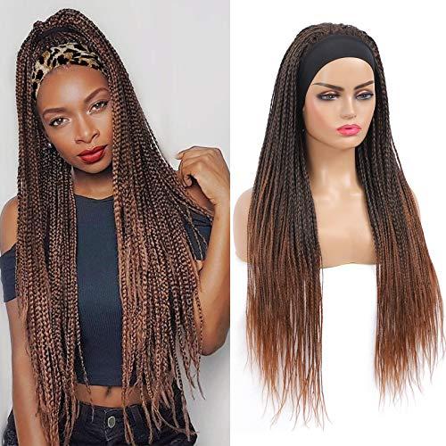 ROSEBONY Headband Wig Box Braided Wigs for Black Women Micro Braids Long Wigs Synthetic Heat Resistant Fiber Brown Wig (T1b/30)