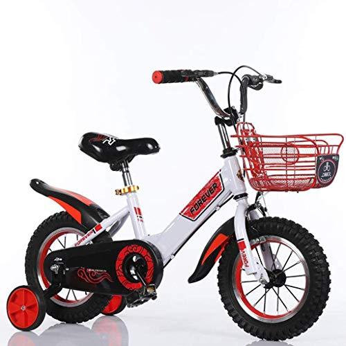 JIAMING - Bicicleta infantil para niño, Boyrsquo;s Girlrsquo;s Bicicleta de entrenamiento para 2-9 años, bicicleta infantil, con ruedas de entrenamiento, 95% montado, en tamaño 12', 14', 16' y 18', color rojo, tamaño 16inch