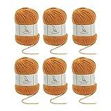 TEHETE Ovillo de lana, Hilados lana merino,6 Bolas x 50g, Hilo para manta,suéter calcetín, bufanda, diy, ganchillo y tejido-Jengibre